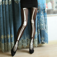 Black Funny Halloween Costume Women Skeleton Bone Skull Tights Punk Pantyhose MO