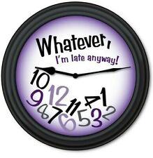 Whatever Purple Wall Clock - Teen Dorm Bedroom FUNNY HUMOR - GREAT GIFT