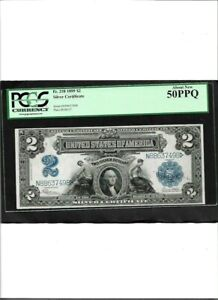 SILVER CERTIFICATE Fr. 258 1899 $2  About New 50PPQ
