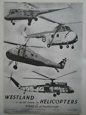 8/1958 PUB WESTLAND WESTMINSTER WIDGEON SABENA HELICOPTER WESSEX WHIRLWIND AD