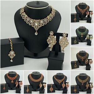 New Indian Pakistani Jewellery Set Pearl Wedding Party Choker Necklace Sets