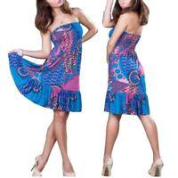 SeXy Damen Strandkleid Blau Sommerkleid Minikleid Bikini Beach Bademode S/M/L