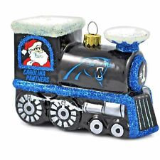 Carolina Panthers Glass Train Ornament With Santa On One Side & Rudolph On Other