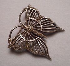 Small Art Deco Style Sterling Silver 925 Filigree & Marcasite Butterfly Brooch