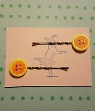 Handmade set of two yellow and orange glitter button silver bobby pin hair clips