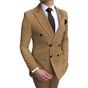Mens Double Breasted Lapel Blazer Coat Pants 2 Piece Suit Business Dress Formal