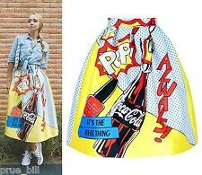 Fun Girl Pop Art Paint Full Midi Pleated Knee Length Skirt Vibrant Vivid Colour