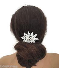 Diseño de hoja de Plata Peine de Cabello Con Cristales Y Perlas Grabado de diapositiva nupcial Baile de graduación