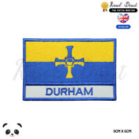 DURHA England County Flag With Name Embroidered Iron On Sew On Patch Badge