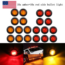 "20X Smoked Round Side Marker lights 3/4""LED Bullet Light Truck Trailer Amber Red"