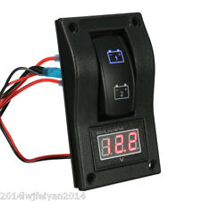 Car Truck Marine LED Dual Battery Test Rocker Switch ON-OFF-ON Panel & Voltmeter