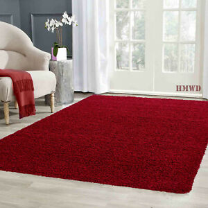 LIVING ROOM THICK RED SHAGGY LARGE RUG HALLWAY RUNNER NON SLIP CARPET LOW COST