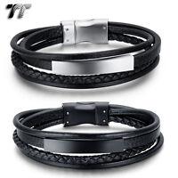 TT Genuine Leather 316L S.Steel ID Magnet Buckle Bracelet 21-22cm (BR238) NEW