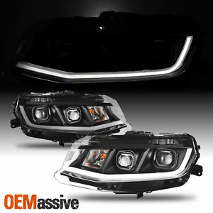 Fit 2016-2018 Chevrolet Chevy Camaro LED Tube Projector Headlights Black Housing
