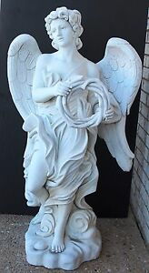 "Beautiful Italian Carrara Solid 49"" Tall Hand Carved Large Wing Angel w Wreath"