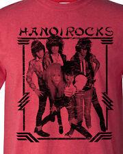 Hanoi Rocks T-shirt 80's Heavy Metal Glam retro Rock distressed heather red tee