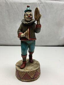 Vintage Enesco Circus Clown Wooden Music Box KG Musical Tambourine 1988