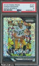 2018 Panini Prizm White Sparkle #127 Aaron Rodgers Packers PSA 9 MINT