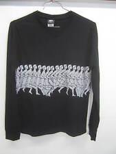 vtg ICNY T-Shirt black w/silver reflective running men stretchy sz S EUC!