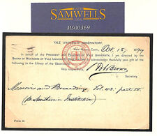 MS369 1899 USA *YALE UNIVERSITY OBSERVATORY* POSTAL STATIONERY 2c Card GB Lancs