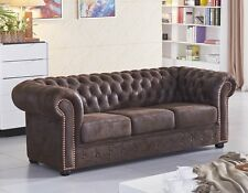 Chesterfield Mikrofasersofa Couch Chester-3-VF03 sofort