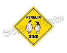 "*Aluminum* Penguin Crossing Funny Metal Novelty Sign 12""x12"""