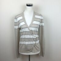 Brunello Cucinelli Sweater S M Beige White Stripe Wrap Cardigan V Neck Women's