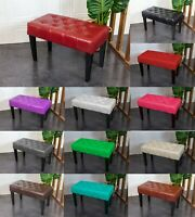 PU Leather Dressing Bench Stool Chair Vanity Stool With Rustic Look Legs