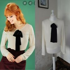 BNWT 🎀Collectif Vintage cream black bow Giada Shirt Size 10 RRP£25