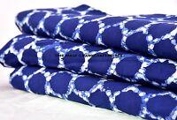Hand block print Indian cotton sanganeri Sewing Crafts 5 yard fabric Indigo Blue