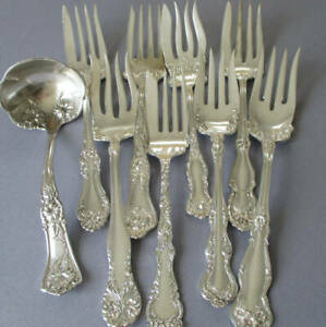 Lot 9 Antique VICTORIAN c1900 SILVERPLATE Cold Meat FORKS + Ladle * Wm Rogers +