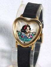 Snow White Watch by Timex in Heart Shaped Gold Tone Case w/ Original Box b1