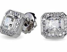 2.01CT SQUARE EMERALD CUT SCREW BACK STUD EARRINGS 14CT WHITE GOLD