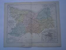 Carte 19° 1852  couleur atlas Malte brun Département du Calvados plan de Caen