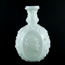 "Antique Fostoria Jenny Lind Cameo Milk Glass Decanter Bottle 8"" EUC W2"