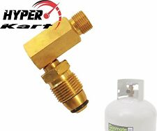 """ADAPTOR RIGHT ANGLE FITTING CONVERT POL/QCC LPG CYLINDER BOTTLE TO 3/8"""" BSP L/H"""