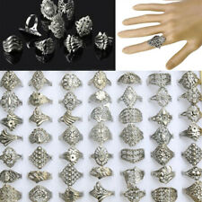 50Pcs Wholesale Lots Jewelry Mixed Style Tibet Silver Vintage Rings Free Ship