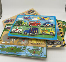 5 Lot Children's Wood Puzzles: Cats, Trucks, And Animals