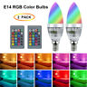 2X E14 3W RGB 16 Color Changing Dimmable LED Candle Light Lamp Bulb + Controller