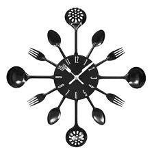 Premier Housewares Wall Clock Black Cutlery Metal