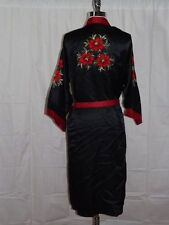 Beautiful Vtg CLASSY JET BLACK SATIN Red Embroidered Flowers LONG WRAP ROBE Sz M