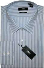 NWT HUGO BOSS BLUE WHITE CARAMEL BROWN STRIPE REGULAR FIT DRESS SHIRT 17 34/35