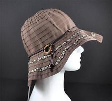 "Jeanne Simmons Brown Bead String Trim Hat 3"" Brim Ribbon Bucket Sun Visor"