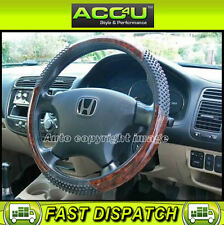 Black PVC Rubber Dotted Walnut Wood Effect Design Car Steering Wheel Cover