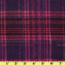 Wool Plaid Fabric by Yard Purple  Magenta Stripes (Winter Coat)