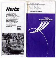 TEXAS INTERNATIONAL AIRLINES 1970 Jacket Ticket Book Passenger Coupon HERTZ FORD