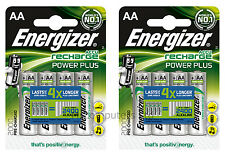 8 x Energizer Accu Recharge Power Plus AA Batteries 2000mAh Pre-charged