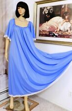 LUCIE ANN VTG Short Bell Sleeves Nylon nightgown PERIWINKLE size L large