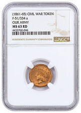 (1861-1865) United States Our Army Civil War Token NGC MS63 RD SKU46393