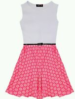New Girls Neon Pink Print Skater Dress with Belt 7 8 9 10 11 12 13 years